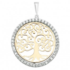 Men's 9ct Yellow and White Gold Cubic Zirconia 26mm Round Tree Of Life Pendant On A Curb Necklace