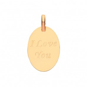 Children's 9ct Gold  I Love You Engraved Oval Pendant On A Prince of Wales Necklace