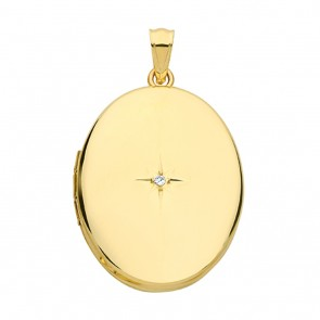Children's 9ct Gold Oval Single Diamond Locket On A Prince of Wales Necklace
