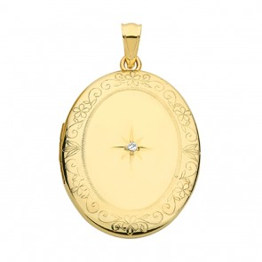 Men's 9ct Gold Oval Single Diamond Engraved Edge Locket On A Curb Necklace