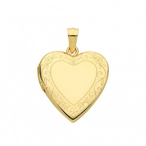 Children's 9ct Gold Flower Edge Engraved Heart Locket On A Prince of Wales Necklace