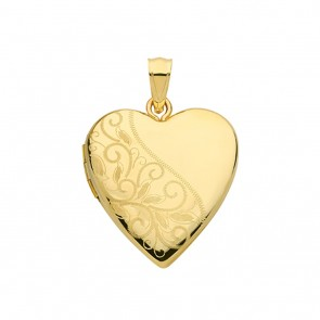 Children's 9ct Gold Fancy Leaf Engraved Heart Locket On A Prince of Wales Necklace