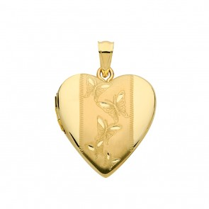 Children's 9ct Gold Butterfly Engraved Heart Locket On A Prince of Wales Necklace