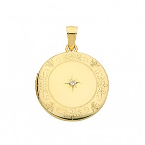 9ct Gold Single Diamond Engraved Edge Round Locket On A Belcher Necklace