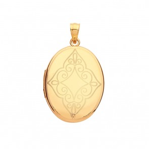 Children's 9ct Gold Elegant Patterned Engraved Oval Locket On A Prince of Wales Necklace