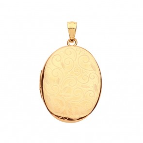 Children's 9ct Gold Elegant Full Patterned Engraved Oval Locket On A Prince of Wales Necklace