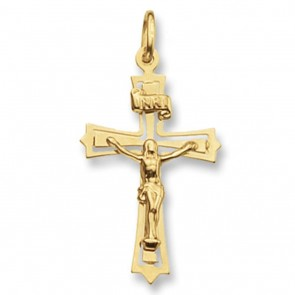 Children's 9ct Gold Flat Crucifix Pendant On A Prince of Wales Necklace