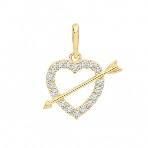 Children's 9ct Gold Cubic Zirconia Heart and Arrow Pendant On A Prince of Wales Necklace