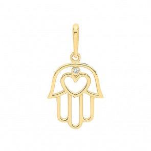 Children's 9ct Gold Hamsa Cubic Zirconia and Heart Pendant On A Prince of Wales Necklace