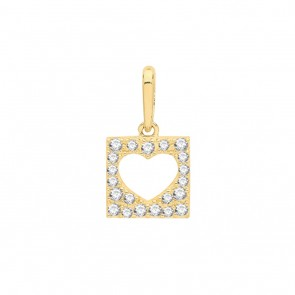 Children's 9ct Gold Cubic Zirconia Cut Out Heart Square Pendant On A Prince of Wales Necklace