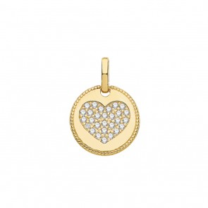 Children's 9ct Gold Small Cubic Zirconia Heart Fancy Edge Round Pendant On A Prince of Wales Necklace