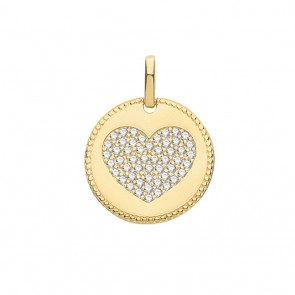 Children's 9ct Gold Large Cubic Zirconia Heart Fancy Edge Round Pendant On A Prince of Wales Necklace