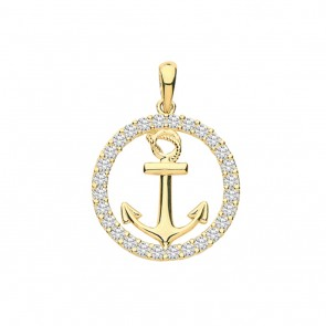 Children's 9ct Gold Cubic Zirconia Edge Round Anchor Pendant On A Prince of Wales Necklace