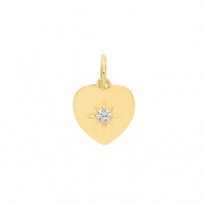 Children's 9ct Gold Small Cubic Zirconia Single Stone Heart Pendant On A Prince of Wales Necklace