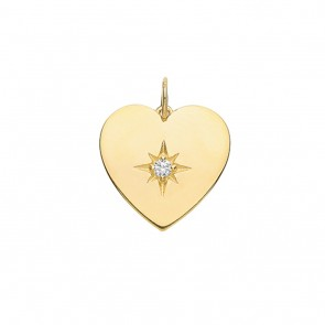 Children's 9ct Gold Medium Cubic Zirconia Single Stone Heart Pendant On A Prince of Wales Necklace