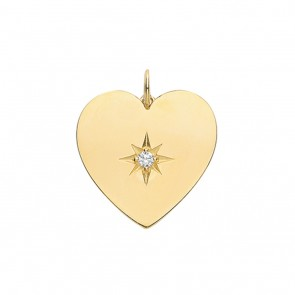 Children's 9ct Gold Large Cubic Zirconia Single Stone Heart Pendant On A Prince of Wales Necklace