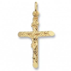Children's 9ct Gold Fancy Tubular Crucifix Pendant On A Prince of Wales Necklace