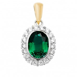 Children's 9ct Gold Created Emerald and White Sapphire Edge Oval Pendant On A Prince of Wales Necklace