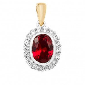 Children's 9ct Gold Created Ruby and White Sapphire Edge Oval Pendant On A Prince of Wales Necklace