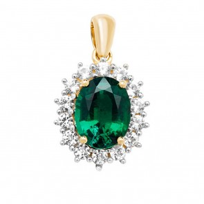 Men's 9ct Gold Claw Set Created Emerald and White Sapphire Edge Oval Pendant On A Curb Necklace