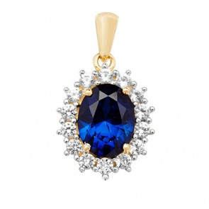 Children's 9ct Gold Claw Set Created Sapphire and White Sapphire Edge Oval Pendant On A Prince of Wales Necklace