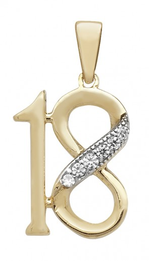 Children's 9ct Gold Cubic Zirconia 18th Birthday Pendant On A Prince of Wales Necklace