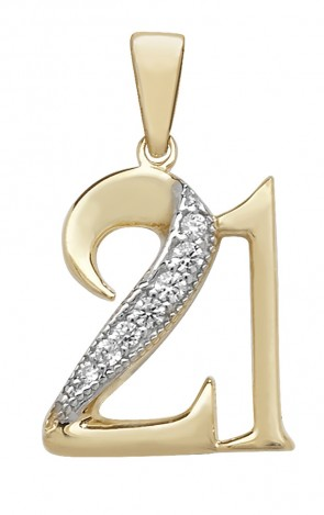 Men's 9ct Gold Cubic Zirconia 21st Birthday Pendant On A Curb Necklace