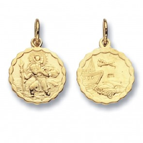 Children's 9ct Gold Round Double Sided  St Christopher Pendant On A Prince of Wales Necklace