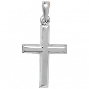 9ct White Gold Plain Cross Necklace