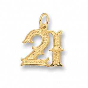Children's 9ct Gold Old English Font 21st Birthday Pendant On A Prince of Wales Necklace