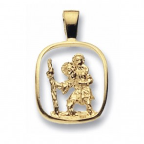 Men's 9ct Gold Cut Out St Christopher Pendant On A Curb Necklace