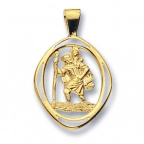 9ct Gold Cut out St Christopher Pendant On A Belcher Necklace