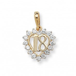 9ct Gold 18th Birthday Cubic Zirconia Heart Pendant On A Belcher Necklace
