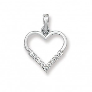 9ct White Gold Cubic Zirconia Set Heart Necklace