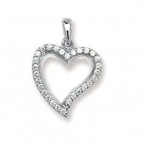 Children's 9ct White Gold Cubic Zirconia Set Heart Pendant On A Prince of Wales Necklace