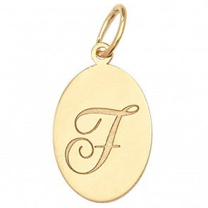 Children's 9ct Gold Plain Oval Disk Initial F Pendant On A Prince of Wales Necklace