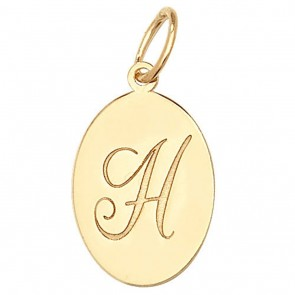 Children's 9ct Gold Plain Oval Disk Initial H Pendant On A Prince of Wales Necklace