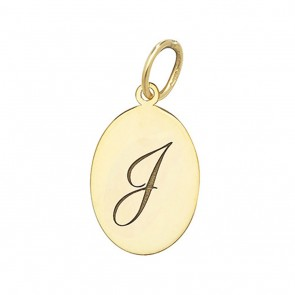 Children's 9ct Gold Plain Oval Disk Initial I Pendant On A Prince of Wales Necklace