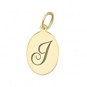 Children's 9ct Gold Plain Oval Disk Initial J Pendant On A Prince of Wales Necklace