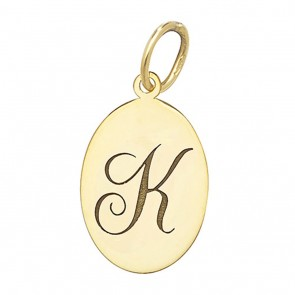 Children's 9ct Gold Plain Oval Disk Initial K Pendant On A Prince of Wales Necklace