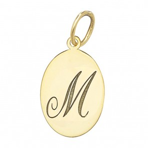 Children's 9ct Gold Plain Oval Disk Initial M Pendant On A Prince of Wales Necklace
