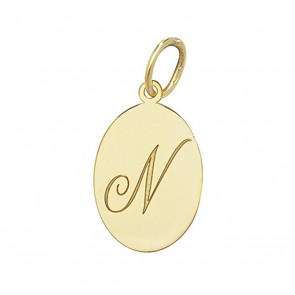 Children's 9ct Gold Plain Oval Disk Initial N Pendant On A Prince of Wales Necklace