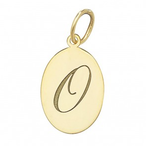 Children's 9ct Gold Plain Oval Disk Initial O Pendant On A Prince of Wales Necklace