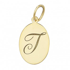 Children's 9ct Gold Plain Oval Disk Initial T Pendant On A Prince of Wales Necklace
