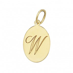 Children's 9ct Gold Plain Oval Disk Initial W Pendant On A Prince of Wales Necklace