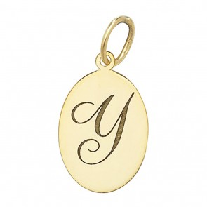 Children's 9ct Gold Plain Oval Disk Initial Y Pendant On A Prince of Wales Necklace