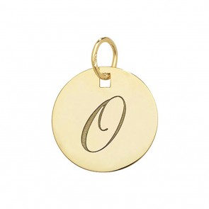 Children's 9ct Gold Plain Round Disk Initial O Pendant On A Prince of Wales Necklace