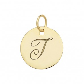 Children's 9ct Gold Plain Round Disk Initial T Pendant On A Prince of Wales Necklace