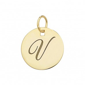 Children's 9ct Gold Plain Round Disk Initial V Pendant On A Prince of Wales Necklace