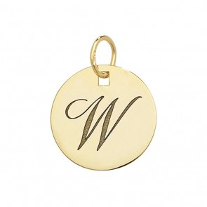 Children's 9ct Gold Plain Round Disk Initial W Pendant On A Prince of Wales Necklace